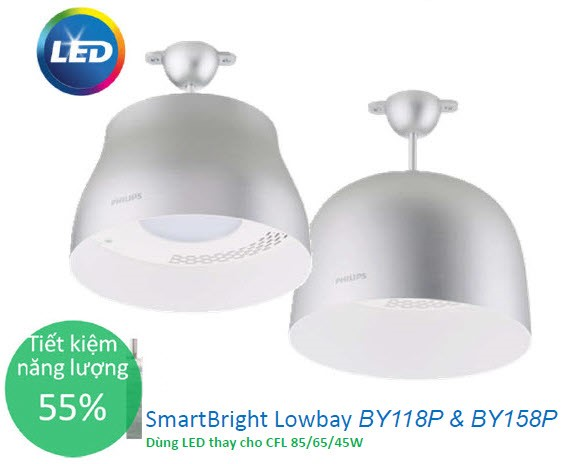 bo den led chieu sang nha xuong smartbright lowbay philips by118p led33 cw psu