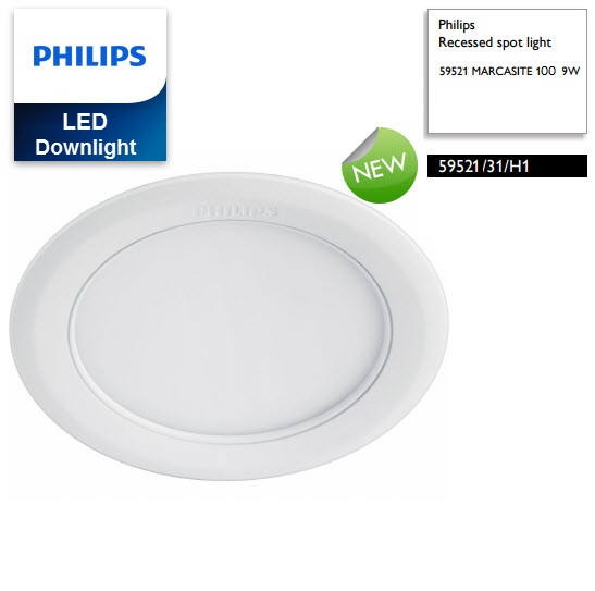 den downlight am tran led philips marcasite 59521 d100 9w 65k wh recessed